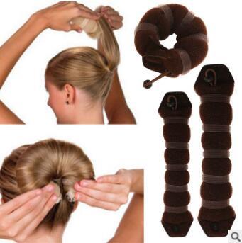 Cinta de goma de Nylon para hacer moños en el pelo negro/marrón/Beige Donut herramientas de cuidado del cabello y estilismo accesorios para el cabello HA003
