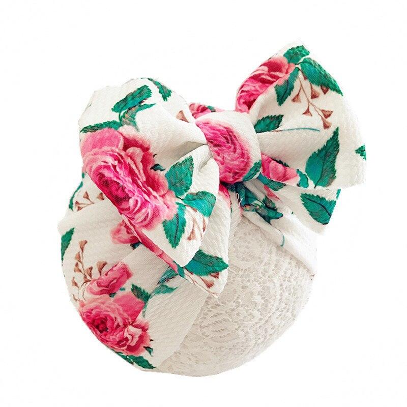 Цветочный бант, винтажный цветочный принт шапка Девочки Мальчики Новый тюрбан Beanie Младенческая теплая зима осень головной убор шапочки
