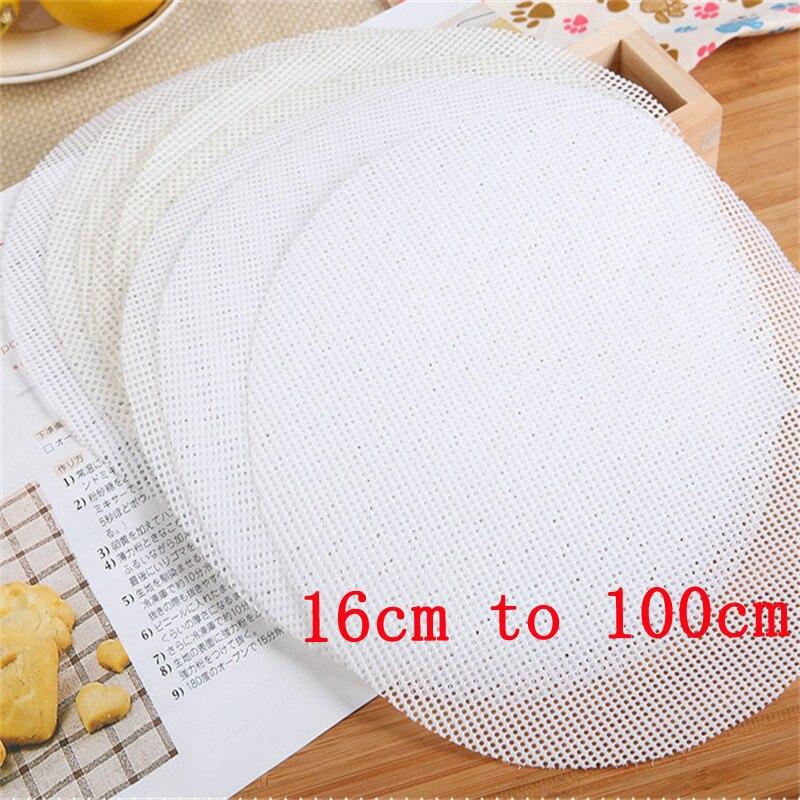Blanco redondo tapete para albóndigas de vapor de silicona de papel vapor antiadherente de bollos hornear pasteles dim sum de malla mat accesorios de cocina