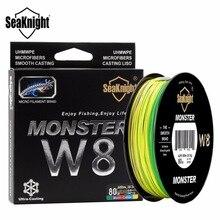 Seaknight monster w8 500 m trançado linha de pesca 8 fios grande angular tecnologia multifilamento pe linha 20-100lb fio de água salgada