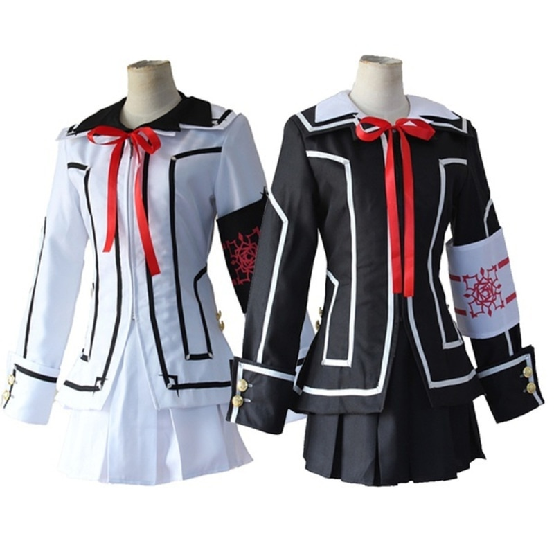 Disfraz de Cosplay de Anime Vampire Knight para mujer, uniforme de Yuki Day Night Class, chaqueta blanca y negra cruzada para niñas, brazalete para camisa