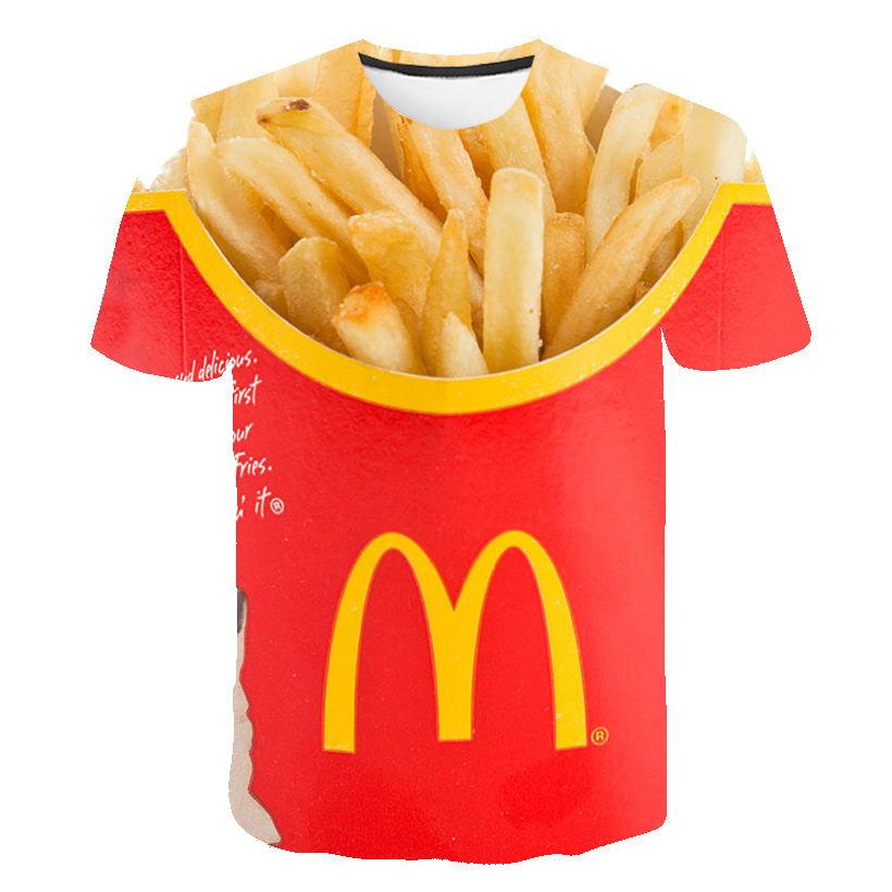 T-shirt Men 2019 New Hip Hop Fashion 3d Burger fries fast food loose Unisex Summer Tops Tees Loose t shirt men Plus Size 5XL