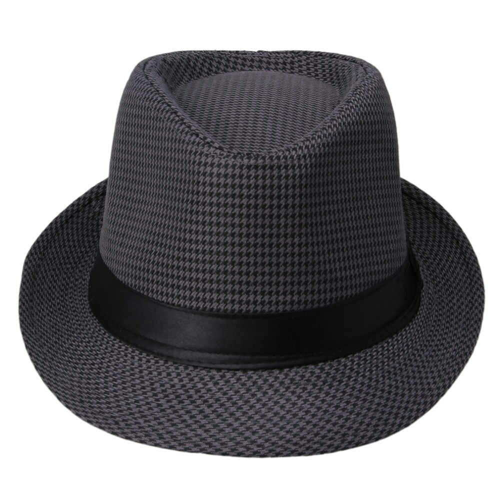 Hot sale  classical vintage hat with black ribbon newly Womens Mens Unisex Fedora Cap summer straw h