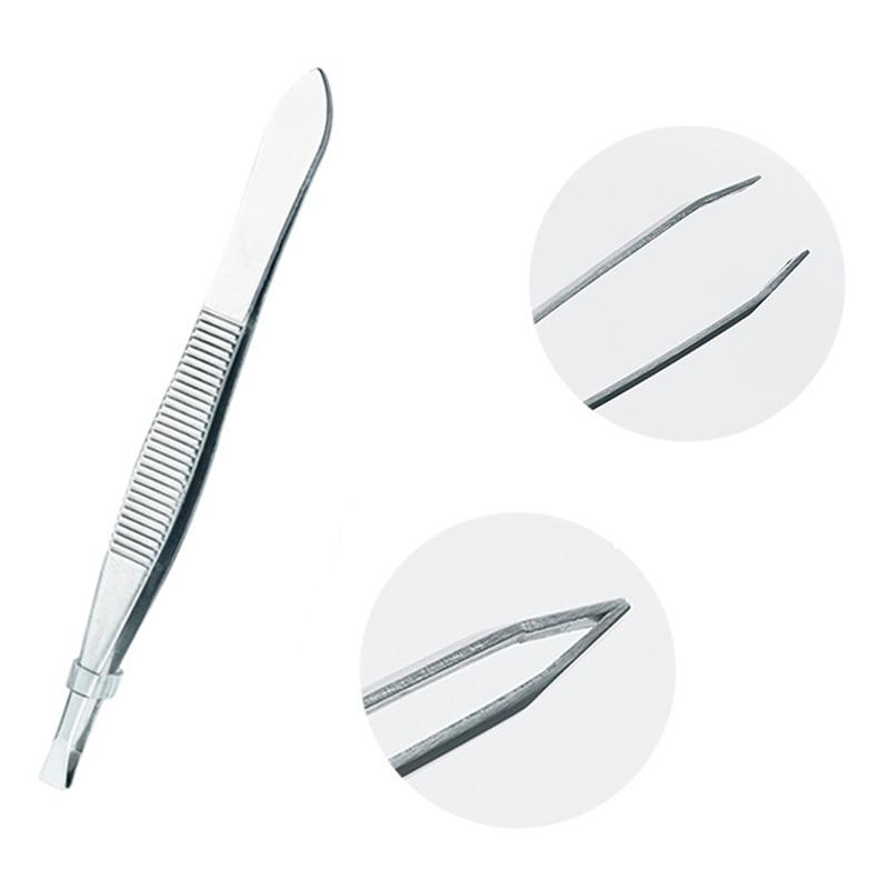 ZtDpLsd 1Pcs Precision Slant Eyebrow Tweezers Non-slip Makeup Remover Tweezer Tools Stainless Steel