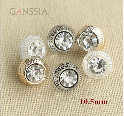 20 unidades por lote, tamaño 10,5mm, botones a la moda con mango de diamante de imitación para camisa, botones transparentes en color dorado/Negro (ss-705)