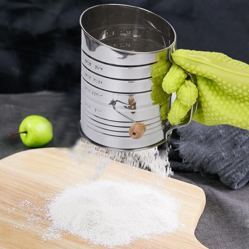 NEW Stainless Steel Hand Crank Sifting Sugar Flour Corn Bean Mug Sieving Flour Filter Mug Sifter Shaker Pastry Baking Tool RT99