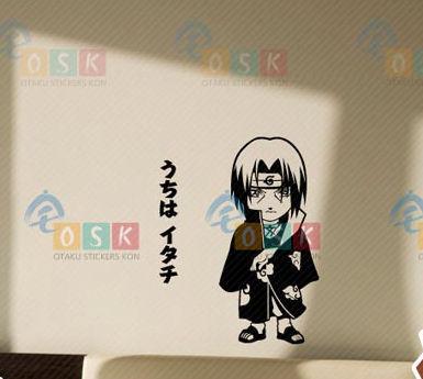 NARUTO Kishimoto Masashi Uchiha Itachi vinilo pared pegatinas etiqueta de la decoración casa decoración Anime de dibujos animados etiqueta engomada del coche