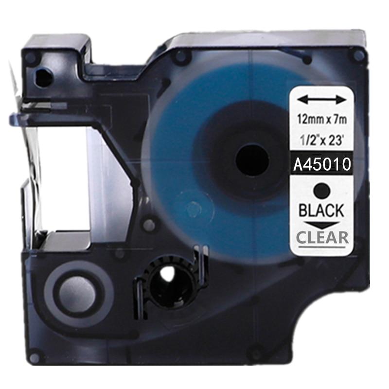 Cinta para impresora de etiquetas Dymo para máquina de hacer etiquetas dymo d1 12mm 45010 negro en transparente