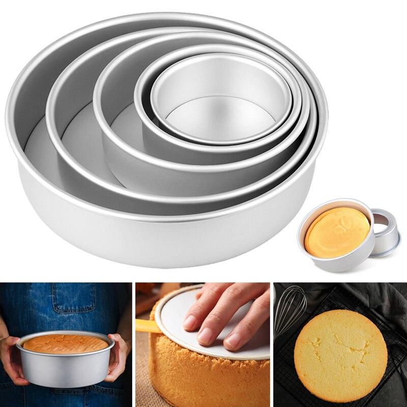 2/4/6/8/10 pulgadas pastel molde de aleación de aluminio, redondo de pasteles molde de repostería para hornear recipiente de lata herramienta de cocina FP8 JY16