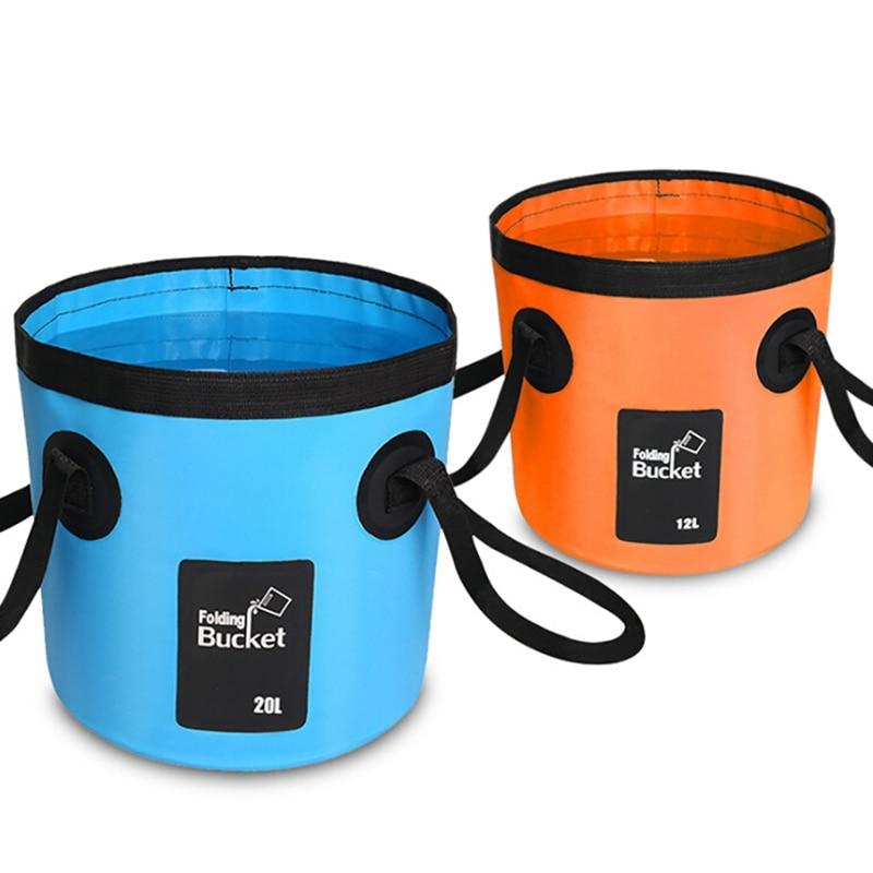 Nuevo cubo plegable de malla 12L20L, suministros para exteriores, Cubo de pesca para pesca, cubo de agua portátil para bolsa plegable, herramientas para exteriores