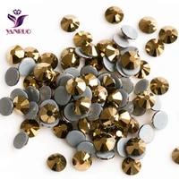 yanruo rhinestones gold aurum strass hot fix crystal golden color hotfix heat iron on dress shoes glass sewing rhinestones
