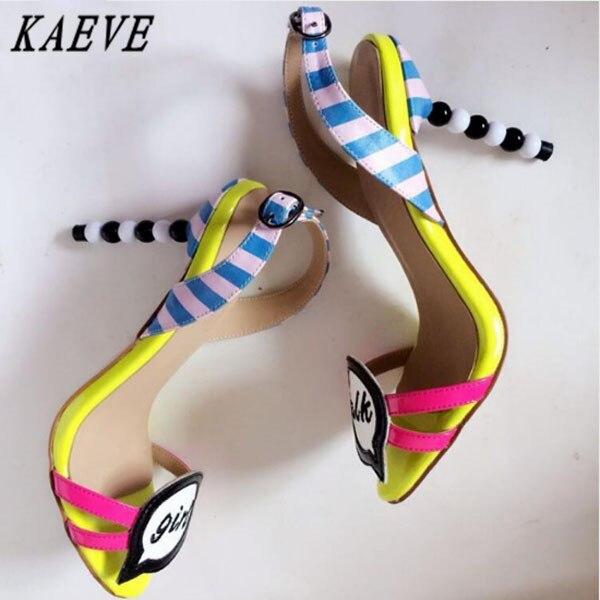 Kaeve Sweet High Heel Designer Shoes Women Luxury 2017 Fashion Mixed Color Ladies Sandals Gladiator Sandals Women Party Shoes