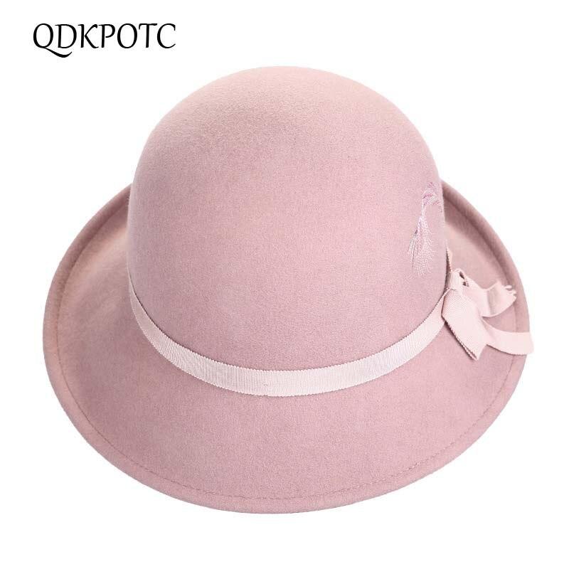 QDKPOTC 2018 alta calidad otoño invierno nuevas mujeres fajas moda bordado sombrero gorra elegante prensado cubo 100% lana