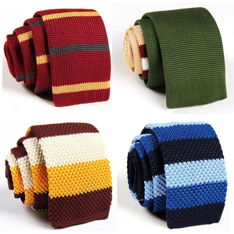 Fashion Brand Slim Tie Men Knitted Necktie Men's Casual Multicolor Ties 5.5CM Skinny Gravatas Boys Knit Woven Tie with GIFT BOX