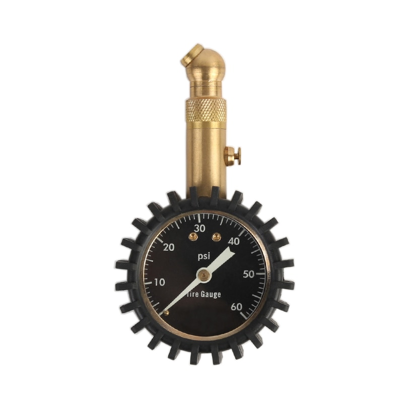 Dial negro, indicador de presión de aire para neumáticos, herramientas de medición doradas con Protector de goma, probador de vehículo para coche 0-60 PSI