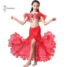 Filles danse du ventre costume plus récent 2 pièces/ensemble soutien-gorge + jupe bellydance vêtements enfants danse orientale performance dancwear pour enfant