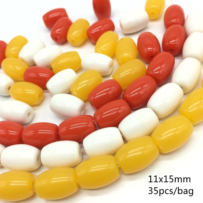 Meideheng Beeswax amarillo acrílico oblato redondo oblea abalorios de ábaco blanco Bodhi barril cuentas para la fabricación de joyas 11x15mm 35 unids/bolsa