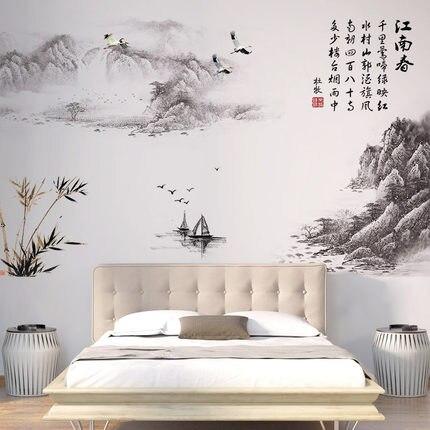 95*150cm estilo chino poesía Vintage Poster pared pegatina sala de estar estudio habitación mural calcomanías murales papel tapiz