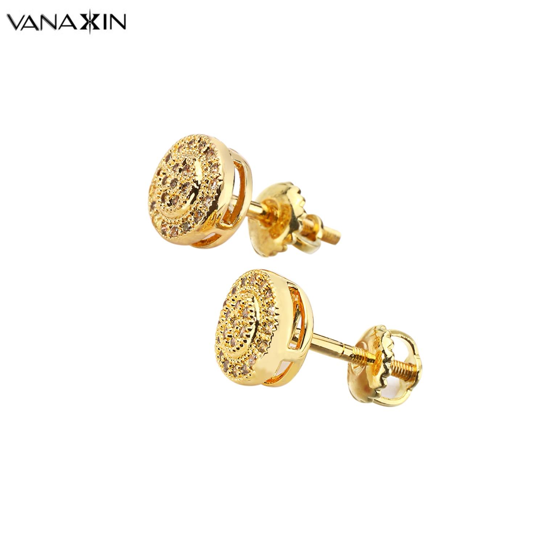 VANAXIN pendientes para mujer AAA Zirconia cúbica pendientes de cristal para chica pendientes de moda joyería de Color negro dorado