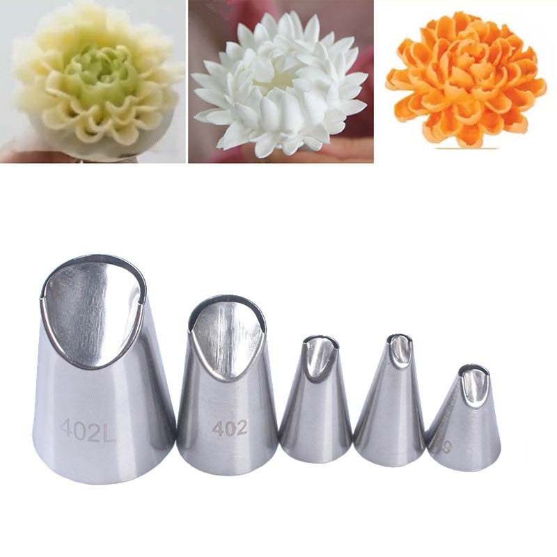 1/3/5/7pc/set of chrysanthemum Nozzle Icing Piping Pastry Nozzles kitchen gadget baking accessories
