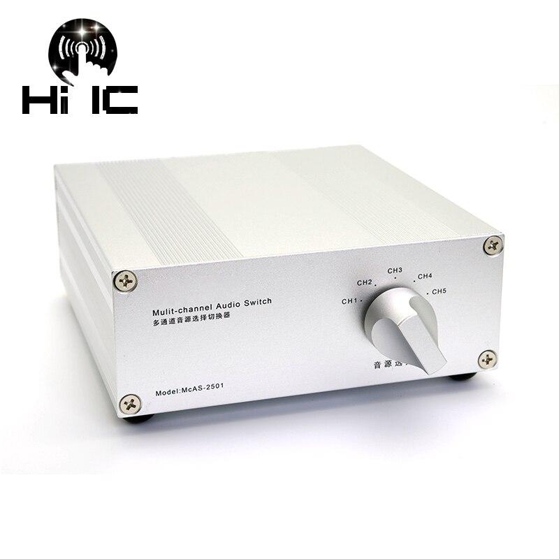 4 entrada 1 saída/5 entrada 1 saída de sinal de áudio passivo switcher interruptor caixa seletor som alta fidelidade divisor de sinal de áudio com rca