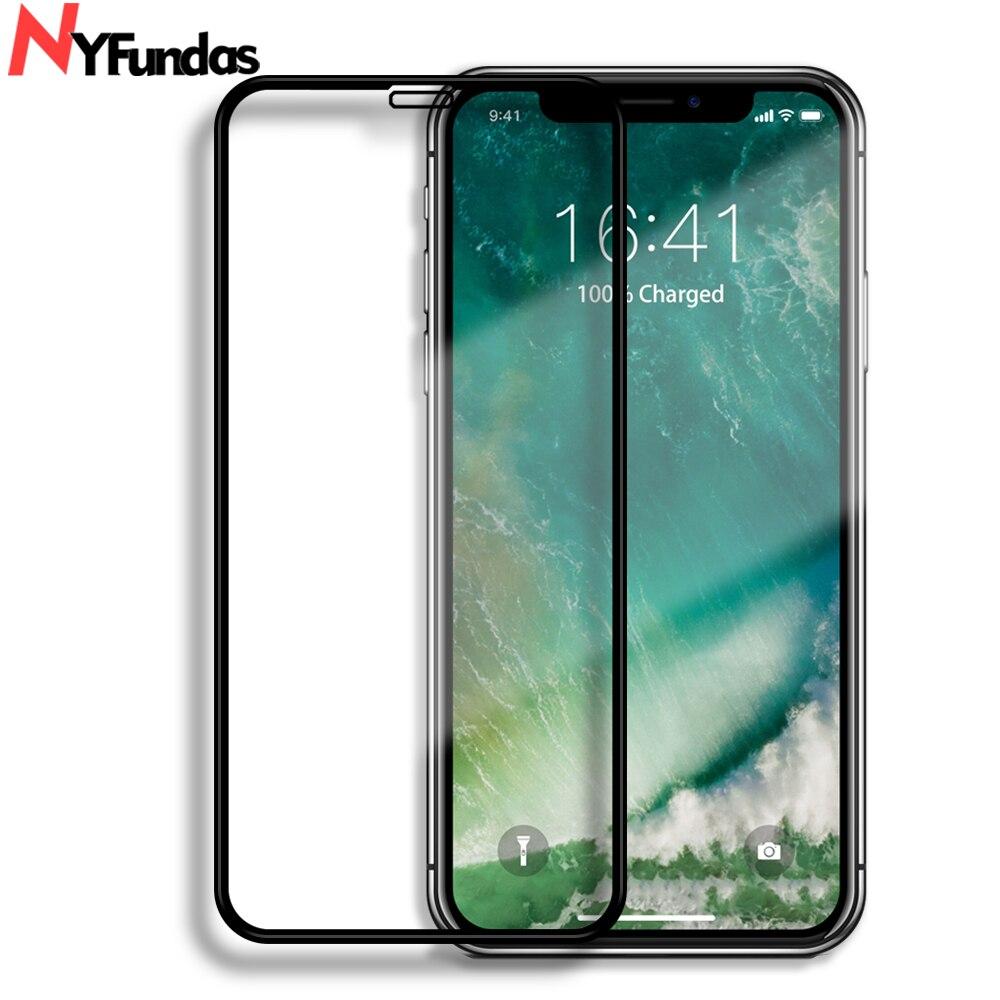 NYFundas 5D Protector de pantalla de cristal templado de cine para iphone 11Pro Max X XS X MAX XR 8 7 6 6S Plus protección Protector de pantalla Verre