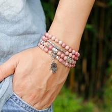 6mm naturel Rhodochrosite perles brin Bracelet femmes Lotus OM bouddha charme Yoga Bracelet 108 Mala collier Yoga bijoux