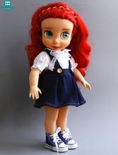 2018 New doll clothes for 40cm Salon Doll Strap denim skirt white shirt