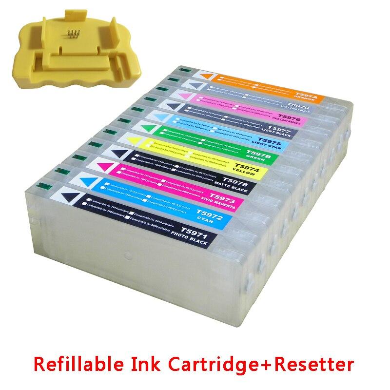 Para cartuchos de tinta recargables de gran formato Epson 7900 9900 cartuchos de tinta vacíos 700ML T6361 + chip