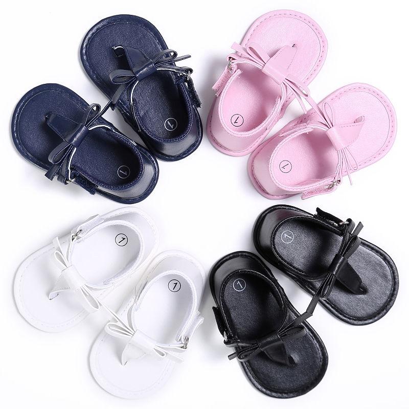 Zapatos de verano para niñas, Chanclas, sandalias de bebé con lazo, zapatos suaves, 4 colores 0-18M, 2017