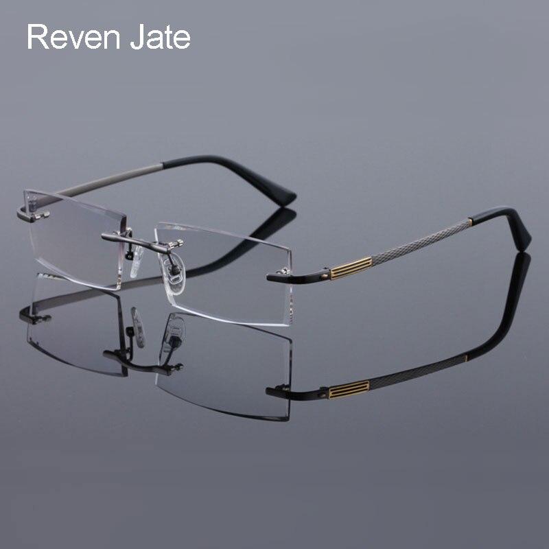 Мужские очки без оправы Reven Jate, титановые очки без оправы с алмазной обрезкой, оправа для оптических очков, модные