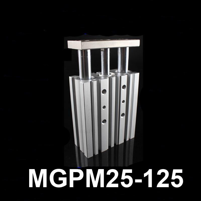 MGPM25-125 diámetro 25mm carrera 125mm guía compacta cilindro de aire de doble acción pop neumático tres barra deslizante de mesa cilindro actuador