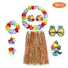 8 teile/satz Kunststoff Fasern mädchen Frau Hawaiian Rock Gras Kostüm Blume Rock Sonnenbrille Hula-tanz kleid Party Hawaii Strand