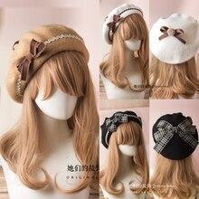 17 couleurs Lolita bérets laine mélange chapeau femmes filles Bow Plaids rayure marin Style Preppy Chic collège étudiants casquette