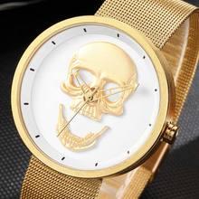 Zegarek męski para czaszka zegarki mężczyźni kobiety panie złoty Punk szkielet kwarcowy fajny zegarek męski mężczyzna kobieta mężczyzna Relogio Masculino