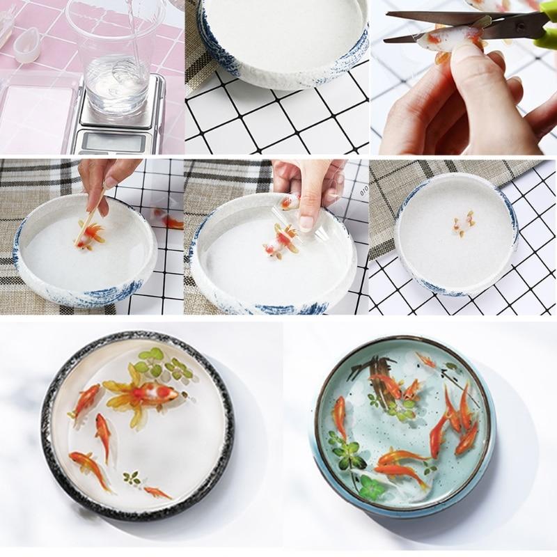 10 piezas 3D Real Goldfish película transparente pegatina para Resina DIY pintura fabricación de joyas