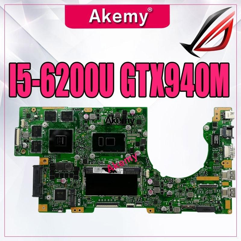 K501UW اللوحة لابتوب For Asus K501UQ K501U اختبار اللوحة الأصلية DDR3 8G-RAM I5-6200U GTX940M