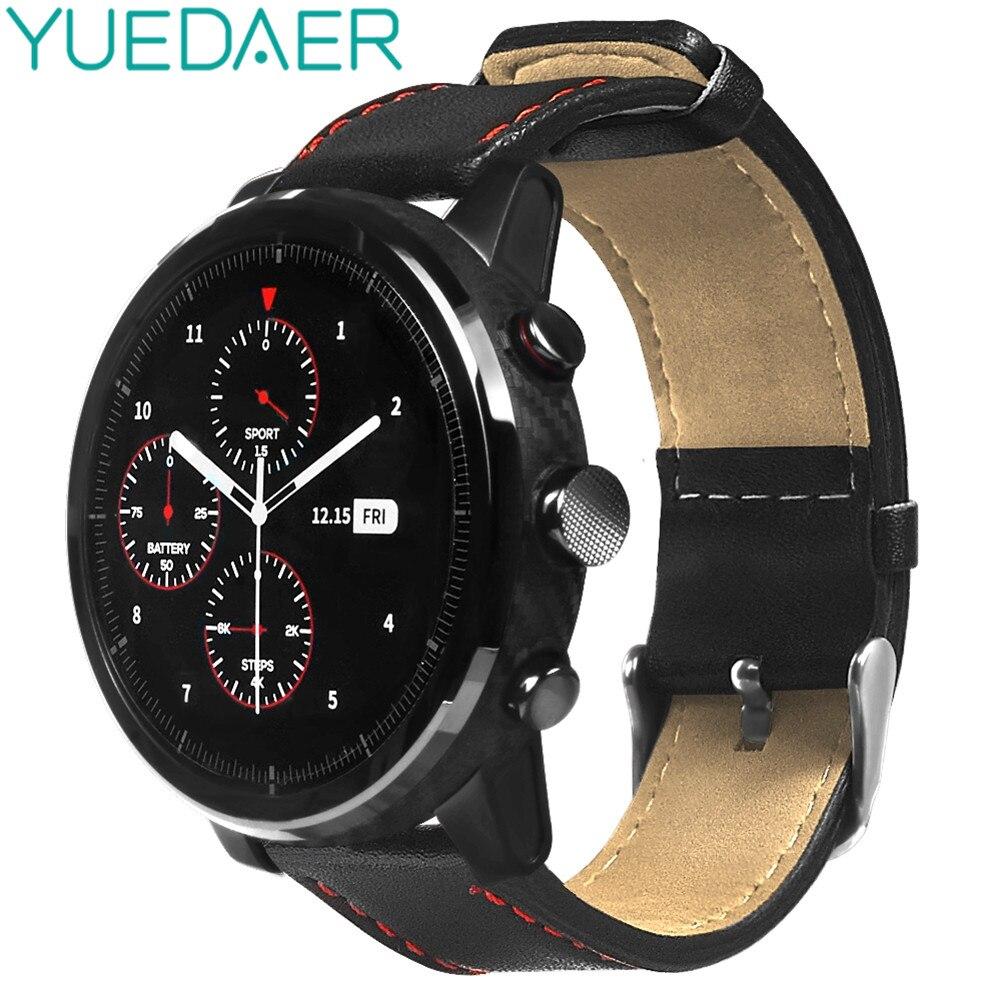 Correa de reloj YUEDAER 22MM para Xiaomi AMAZFIT Pace Stratos 2 Correa de cuero para Amazfit GTR 47 47MM pulsera suave