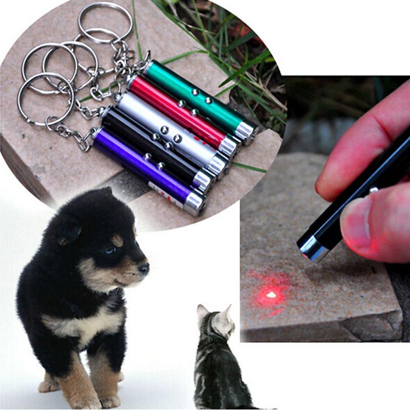 Nuevos juguetes de láser con luz LED, bolígrafo láser rojo, varillas para gatos, puntero láser con luz Visible, divertidos productos interactivos para mascotas, 6 colores