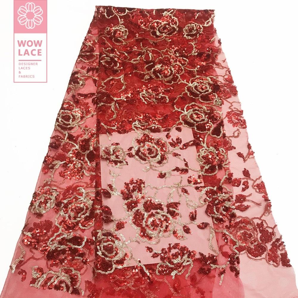 Rojo color lentejuelas encaje neto de tela para Guinea boda lentejuelas vestidos de tul de encaje Material deslumbrante diseño 2019 gasa neto de