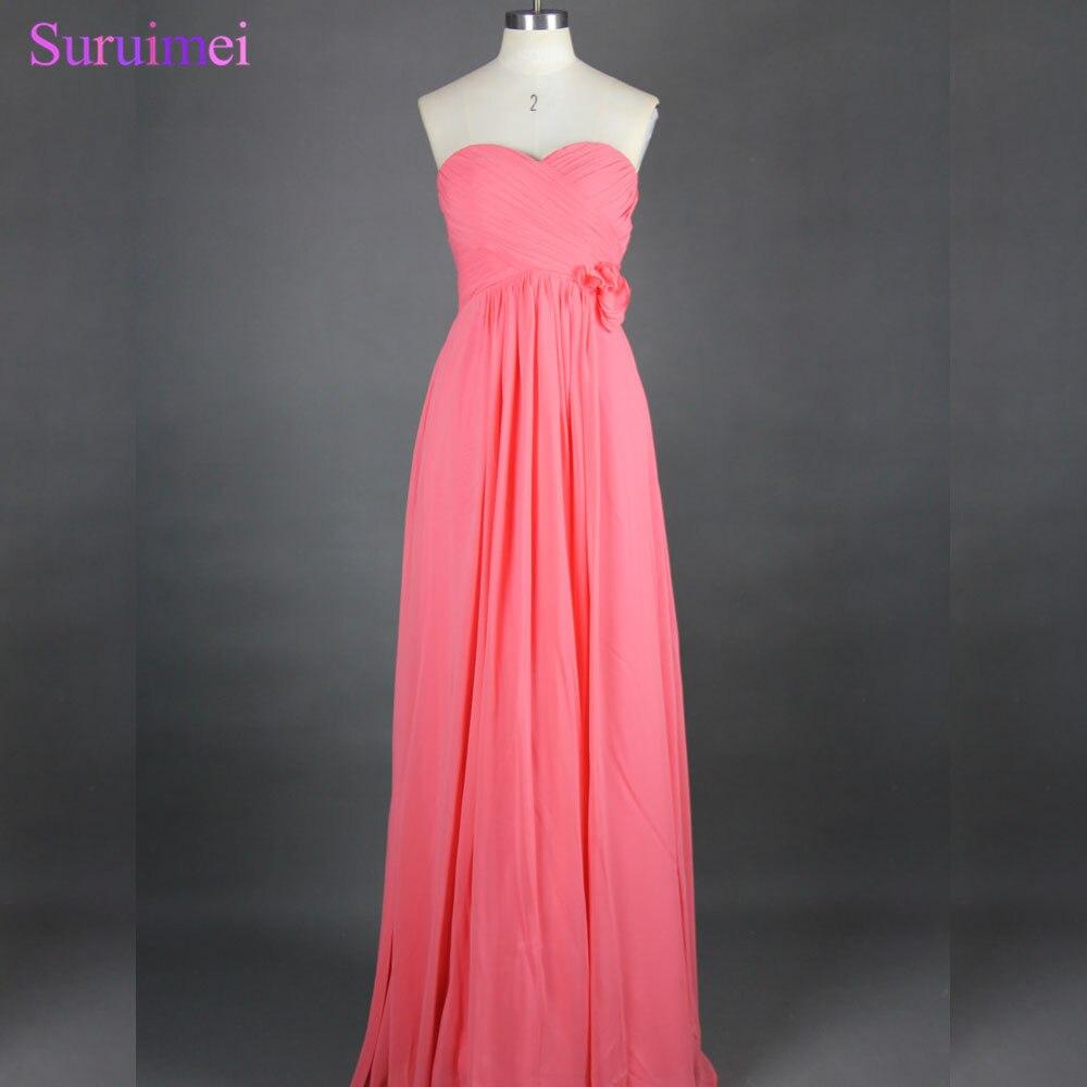 Envío Gratis, recién llegado, gran oferta, vestido largo de chifón Coral, largo hasta el suelo, línea A, vestido de dama de honor, vestido de fiesta BD249