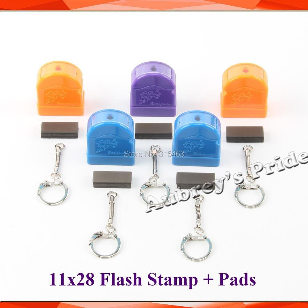 5 uds HX 11x28mm llavero mezcla de Color en resorte soporte carcasa de sello + 7mm almohadilla de goma para fotosensible retrato Flash sello de estampado