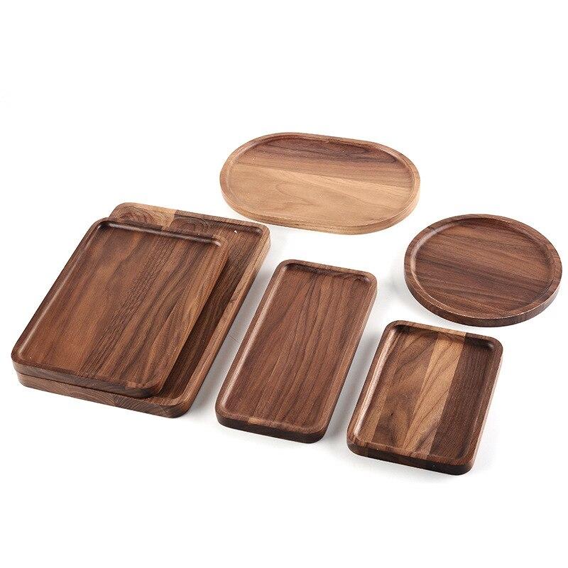 Bandeja de serviço de madeira, prato decorativo, bandeja de comida de nogueira marrom para café da manhã e mesa de centro