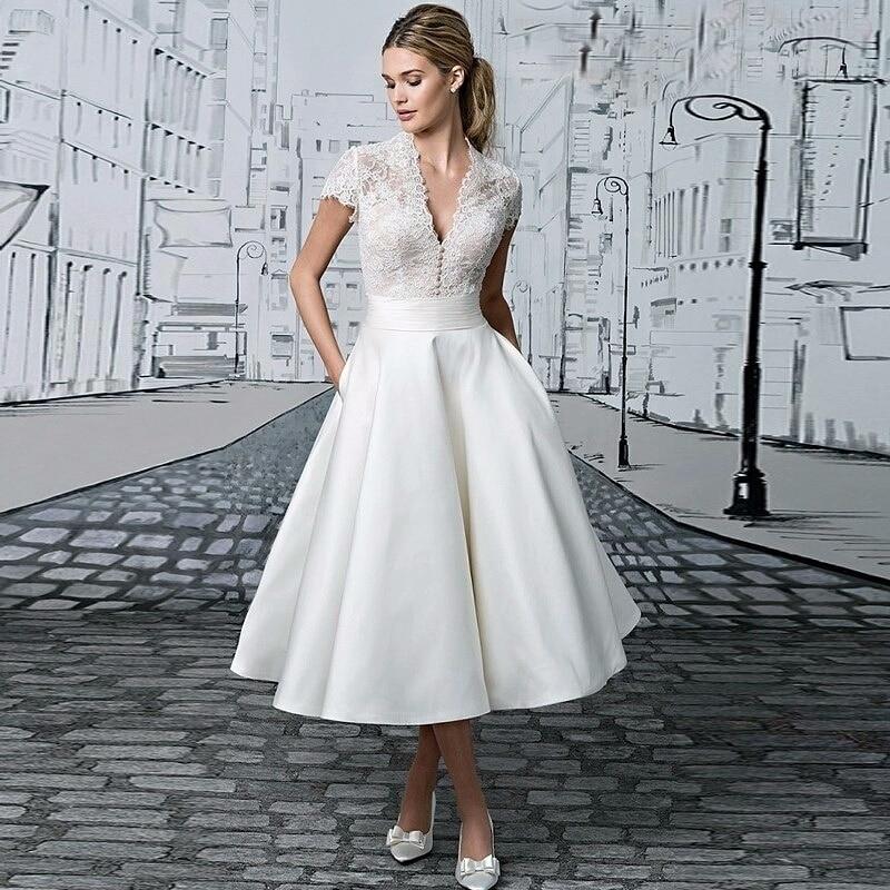 Vestido De Novia corto con escote en V, traje De boda con...