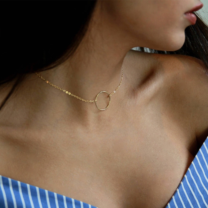 2020 Simple cadena de Color oro Gran collar gargantilla circular para las mujeres gargantilla collares collar collier ras du cou femme bijoux
