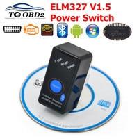 מיני ELM327 V1.5 Bluetooth על/כיבוי עם PIC18F25K80 שבב ELM 327 1.5 OBD2/OBDII עבור אנדרואיד מומנט רכב סורק כלי