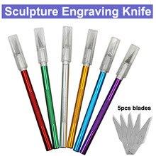 6 pièces lames anti-dérapant métal Scalpel couteau outils Kit Cutter gravure artisanat couteaux ordinateur portable et téléphone portable bricolage réparation outils à main