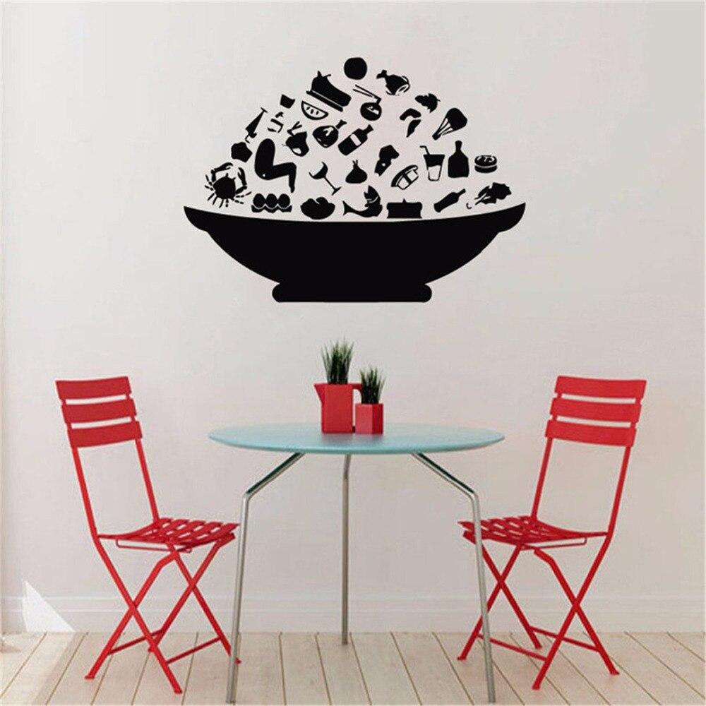 Mode Schüssel Mit Lebensmitteln Wandaufkleber Küche Wand-dekor Esszimmer Tapeten Kreative Selbstklebende Tapete Küche Aufkleber