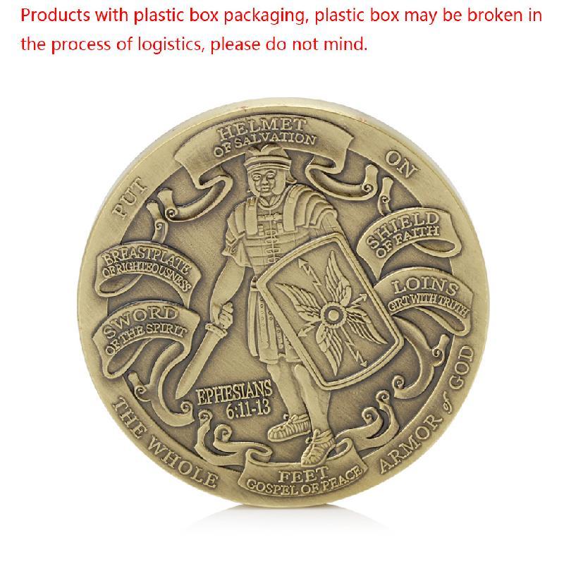 1 pces capacete de salvação colocar sobre toda a armadura de deus comemorativa moeda colecionável