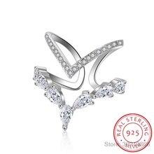 Anillo de Zirconia de doble capa de Plata Irregular esterlina 925 para mujer anillos redimensionables anillos de S-R172